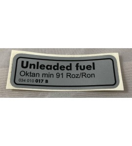 Sticker - Unleaded Fuel 034010017B