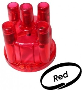 Clear transparant stock top mount distributor cap. Fits Bosch distributor, red 113905207C