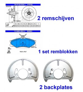 Remmenset ATE vooras T25 /T3 258x16 incl. backplates